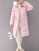 Women's Solid Pink / Black Down CoatStreet chic Hooded Long Sleeve