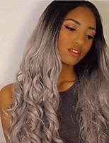 длинные волны париков женской моды оттенки серебра фронта шнурка реалистичное волос парик моды
