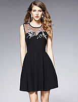 Women's Plus Size / Going out Vintage Sheath DressEmbroidered Round Neck Above Knee Sleeveless Black Cotton