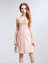 Cocktail Party Dress A-line Sweetheart Short / Mini Lace with Crystal Detailing / Pearl Detailing