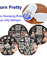 4pcs BORN PRETTY Nail Art Stamping Template Plates & 1pcs Jelly Stamper Scraper Tool