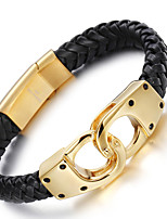2016 Kalen Men's 18K Italian Gold Plated Link Chain Bracelets 316L Stainless Steel Infinity Charm Male Leather Bracelets Christmas Gifts