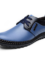 Men's Oxfords Comfort Nappa Leather Office & Career / Party & Evening Flat Heel Lace-up Black / Blue EU38-43
