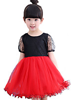 Girl's Casual/Daily Solid DressCotton Summer Red
