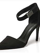 Women's Heels Summer Heels Suede Outdoor / Dress Stiletto Heel Buckle Black Walking