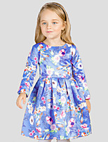 Girl's Casual/Daily Floral DressCotton / Polyester Winter / Fall Blue