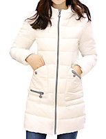 Women's Long Down Coat Simple Plus Size / Casual Work Solid Long Sleeve Hooded
