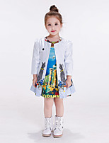 Girl's Casual/Daily Print Trench CoatCotton / Rayon Winter / Spring / Fall Multi-color / White