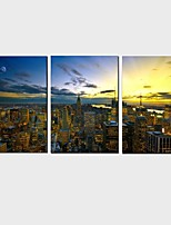 HD Print Canvas painting wall art 3 piece  American City Evening Landscape Stretched Frame Ready to Hang