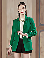 I'HAPPY Women's Work Simple Spring / Fall BlazerSolid Peaked Lapel Long Sleeve Green / Yellow Polyester / Spandex Medium