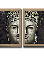2 Panels Oil Painting Abstract Buddha Wall Art Pictures Hand Painted On Natura Linen With Stretched Frame Ready To Hang