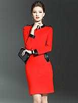 Женский На каждый день / Большие размеры Винтаж / Простое Облегающий силуэт Платье Однотонный,Вырез под горло До колена Длинный рукав