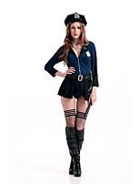 Costumes Uniformes Halloween / Fête d'Octobre Noir / Bleu Couleur Pleine Térylène Robe / Plus d'accessoires