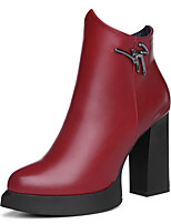 Women's Boots Spring/Fall /Winter Combat Boots Synthetic Office & Career / Casual Chunky Heel Black / Red Snow Boots