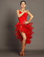 Latin Dance Outfits Women's Performance Viscose Draped 2 Pieces Black / Red Latin Dance