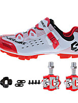 SD03 Cycling Shoes Unisex Outdoor / Road Bike Sneakers Damping / Cushioning White / Red-sidebike And Red Rock Pedals