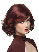 2016 Hot Highlight European Women Loves Red Short Curly Wig Synthetic Heat Resistant Wigs With Side Bangs