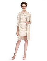 Lanting Bride®Sheath / Column Mother of the Bride Dress Short / Mini 3/4 Length Sleeve Lace / Stretch Satin with Beading / Buttons
