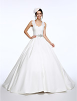 Lanting Bride® Ball Gown Wedding Dress Court Train Straps Lace / Satin with Sash / Ribbon / Bow