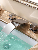 Contemporary / Modern Waterfall Ceramic Valve Two Handles Three Holes for  Chrome  Bathtub Faucet