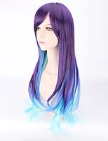 hightlight moda cielo mezcla de lavanda sedosa de color azul largo longitud peinado de moda Harajuku estilo de personalidad lolita