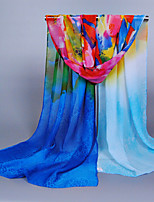 Women's Chiffon Flowers Print Scarf Royal Blue/Pink/Blue/Red/Orange