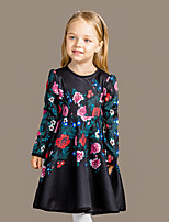 Girl's Casual/Daily Floral DressCotton Spring / Fall Black