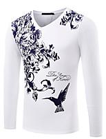 Masculino Camiseta Algodão / Elastano Estampado / Cor Solida / Floral Manga CompridaCasual / Escritório / Formal / Esporte / Tamanhos