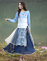 Our Story  Going out Cute Regular PulloverColor Block / Embroidered Blue Round Neck Long Sleeve Wool / Acrylic Spring