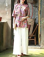 Chemise Femme,Fleur Décontracté / Quotidien Chinoiserie Eté Manches Courtes Mao Rose Lin Moyen