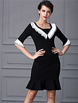 Baoyan Women's V Neck 1/2 Length Sleeve Above Knee Dress-160270