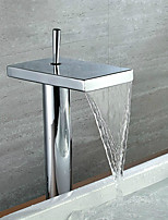 Contemporary Vessel Waterfall with  Ceramic Valve Single Handle One Hole for  Chrome  Bathroom Sink Waterfall Faucet