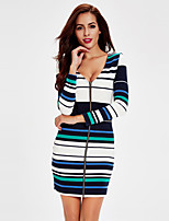 Women's Casual/Daily Simple / Street chic Bodycon Slim Backless Knit DressStriped Deep V Mini Long Sleeve
