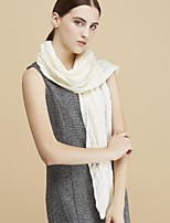 Women Wool ScarfCasual RectangleWhiteSolid