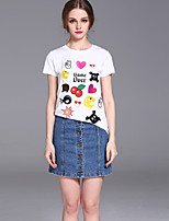 FRMZ  Women's Casual/Daily Cute Summer T-shirtEmbroidered Round Neck Short Sleeve