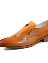 Men's Flats Spring / Fall Pointed Toe / Flats Cowhide Outdoor / Office & Career / Casual Flat Heel Others Black