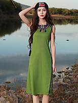 Our Story Going out Vintage Sheath DressSolid Round Neck Midi Sleeveless Green Rayon / Polyester