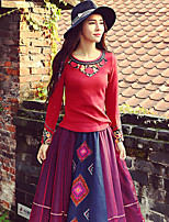 OUR STORY  Going out Chinoiserie Spring / Fall T-shirtEmbroidered Round Neck Long Sleeve Red Polyester Medium