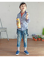Boy's Casual/Daily Striped TeeCotton / Polyester Summer / Spring Blue