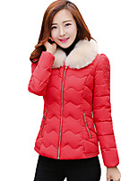Fall Winter Casual Plus Size Women's Padded Coat Solid Color Slim Joker Stand Collar Down Jacket