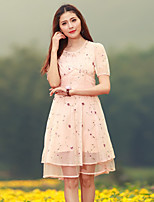 Our Story Women's Going out Vintage Sheath DressEmbroidered Round Neck Knee-length Short Sleeve Pink Polyester Summer