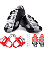 Cycling Shoes Unisex Outdoor / Road Bike 02 Sneakers Damping / Cushioning Black / Silver-sidebike And Red Lock Pedals