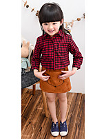 Girl's Casual/Daily Check BlouseCotton Spring / Fall Black / Red / White