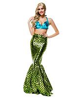 Costumes Mermaid Tail Halloween / Noël / Carnaval / Nouvel an / Fête d'Octobre Rouge & bleu Couleur Pleine / A Carreaux Térylène Robe