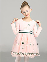 Girl's Casual/Daily Patchwork DressCotton / Polyester Winter / Fall Pink / Yellow