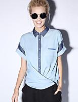 nouvelle avant simple travail d'été bloc shirtcolor col de chemise à manches courtes bleu rayonne des femmes opaque