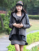 Our Story Women's Going out Boho JacketsPrint Hooded Long Sleeve Winter Gray Wool / Polyester Thick