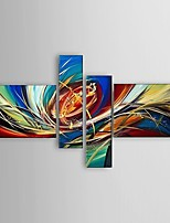 Ready to Hang Stretched Frame Hand-Painted Oil Painting 4 Panels Canvas Wall Art Modern Abstract Home Decor