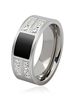 Men's Fashion Personality Simplicity 316L Titanium Steel Ring Rhinestone Band Rings Casual/Daily Gift 1pc