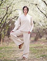 Set Pantalon Costumes Femme,Couleur Pleine Sportif Chinoiserie Printemps / Eté Manches Longues Col en V Beige Lin Moyen